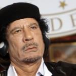 Gadaffi in einer Konferenz